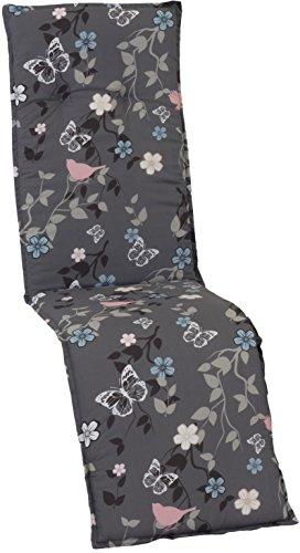 Beo Gartenmöbel Auflage für Relaxstühle grau Bunte Vögel M503