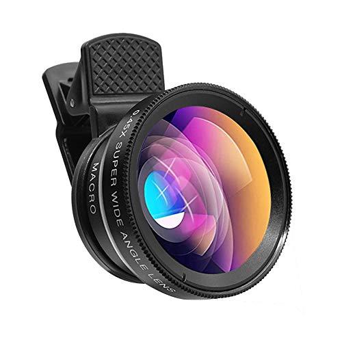 Universelles Telefonkamera-Objektiv-Kit, 0,45-faches Weitwinkelobjektiv + 12,5-faches Makroobjektiv Professionelles 4K-HD-Clip-on-Handy-Objektiv für i-Phone Samsung Huawei und die meisten Smartphones