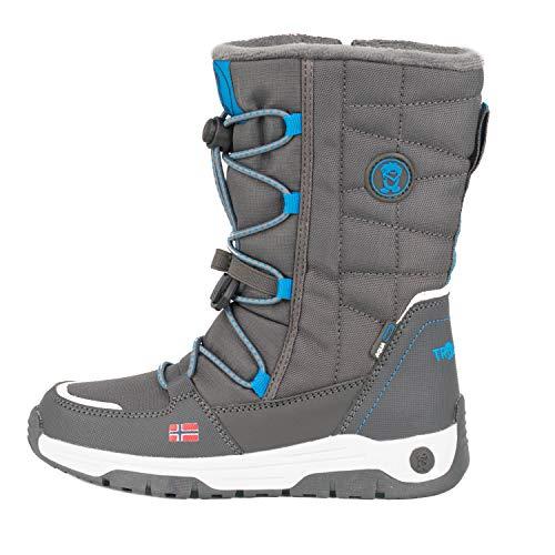 Trollkids wasserdichte Nordkapp Winter Schuhe, Antrazit/Mittelblau, Größe 38