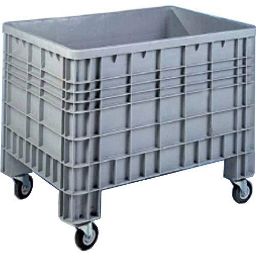 Cassone bins in plastica chiuso con ruote carrello Contenitore sovrapponibile in PHED litri 280 per l'industria leggera dimensioni mm.1000x640xh.770