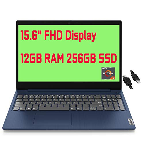 "2021 Flagship Lenovo IdeaPad 3 Business Laptop 15.6"" FHD Display AMD Quad-Core Ryzen 5 3500U(Beats i5-8210Y) 12GB RAM 256GB SSD AMD Radeon Vega 8 Graphics Dolby Win10 + iCarp HDMI Cable"