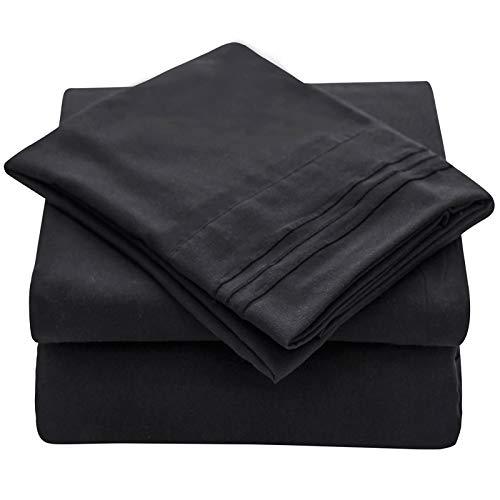 Veeyoo - Set biancheria da letto con tessuto antipiega, ipoallergenico, di qualità albergo, extra morbido con bordi profondi, composto da federe e lenzuola, Microfibra, Nero , Single X-Long