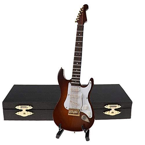 Iycorish Guitarra EléCtrica en Miniatura de Madera con Soporte y Estuche Instrumento Musical Casa de Mu?Ecas en Miniatura Modelo MarróN