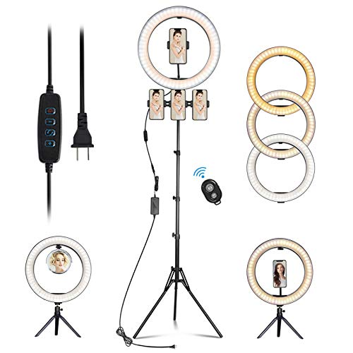 """14.3"""" LED Selfie Ring Light with Tripod Stand&Phone Holder&Makeup Mirror for Live Streaming&YouTube Video, Dimmable Makeup Ring Light for Photography, Shooting with 10 Brightness Level & 3 Light Modes"""
