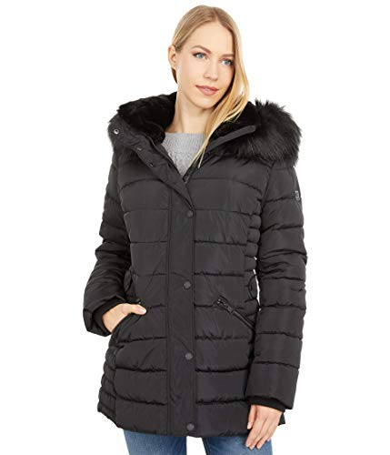 Kenneth Cole Zip Front Hooded Puffer w/Faux Fur Black MD