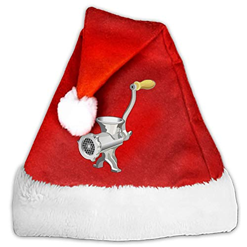 Red Velvet Santa Hats with White Plush for Children and Adults Celebrations and Recreation - Mincer Meat Grinder