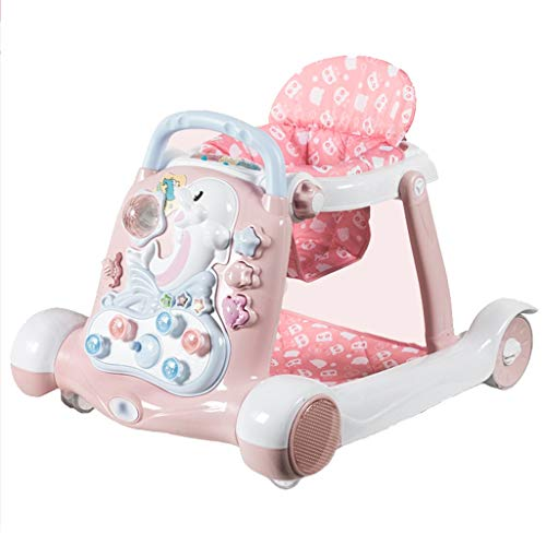 Lauflernhilfen Entdecken & Bewegen Entwicklungs Walker Activity Walker Walker Anti-Rollover 6 / 7-18 Monate Baby Push kann Kinder Lauflernhilfe Multifunktions sitzen ( Color : Pink , Size : 67*58cm )