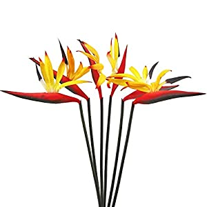 MINYULUA Artificial Flowers Bird of Paradise Real Touch Bird of Paradise Greenery Plants Indoor Outside Garland Silk Flowers Bouquet for Home Garden Party Office Decor Yellow(6PCS)