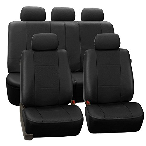 FH Group PU007BLACK115 Universal Fit Full Set Deluxe Seat Cover - Leatherette Airbag Compatible and Rear Split, Fit Most Car, Truck, SUV, or Van, Black