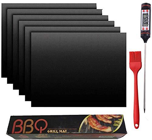 Mgee Tappetino Barbecue 60x40cm BBQ Grill Mat 6pcs Antiaderente e Riutilizzabile, Alte Temperature, Facile da Pulire per carbonella, Barbecue a Gas e Forno, con Termometro per Barbecue (Nero)