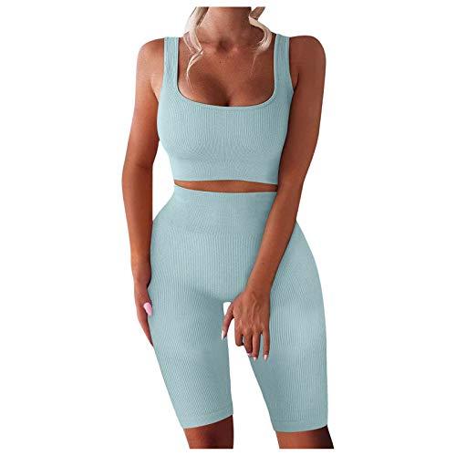 VESNIBA Damen Workout Set 2 Teile, Trainingsanzug Fitness Yoga Set Ribbed Stretchy Sportanzug Top + Leggings Sportwear Yoga Outfits Jogging Gym Sportkleidung Fitnessanzug