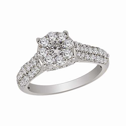OMEGA JEWELLERY 1.23 Ct Round Cut Natural Diamond 10K Gold Cluster Engagement Ring for Women (White-Gold)