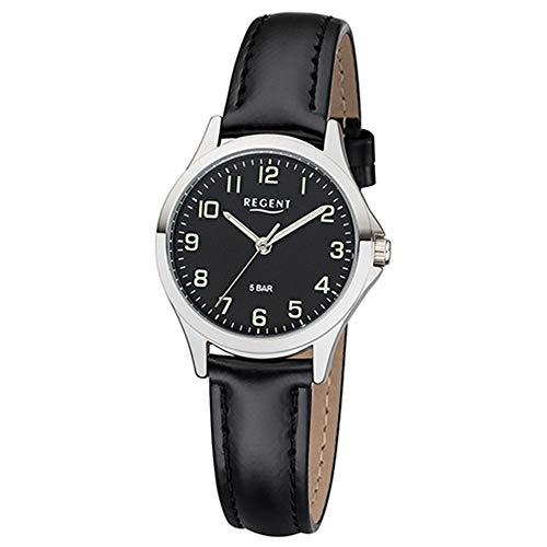 Regent Damen Uhr 2112419 Leder Quarz Armbanduhr Lederarmband schwarz UR2112419