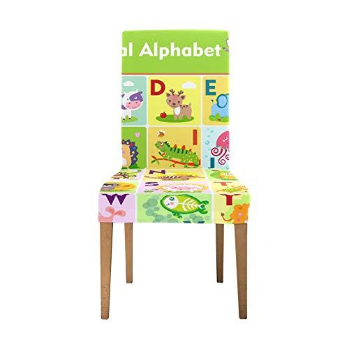 Dinnig Stuhlbezug Niedliche Tier Alphabet Z Stuhlhussen für Wohnzimmer Soft Stretch Esszimmerstühle Abdeckung Waschbare abnehmbare Stretch Stuhlhussen für Wohnzimmer