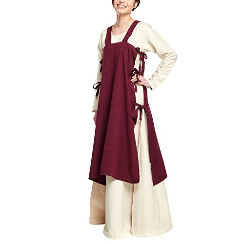 Elbenwald Mittelalter Damen Überkleid Hildegard ärmellos mit seitlichen Schnürungen Baumwolle rot - L/XL
