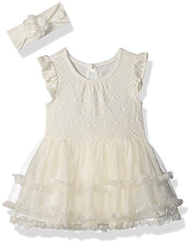 The Children's Place Baby Girls' Flutter Sleeve Dressy Dresses, Snow 5838, 3-6MONTHS