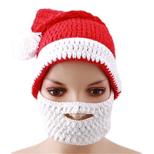 Eleusine Frauen Weihnachtsmütze Winter Warme Strickmütze Häkeln Mit Bart Faltbare Bartmützen Weihnachtsmütze Geschenk (Erwachsene)