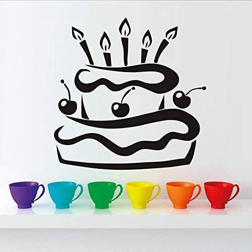 BailongXiao Pastel de cumpleaños de Cereza a Prueba de Agua y Etiqueta de la Pared de la Vela Regalo de diseño Moderno Papel Pintado de Pegamento de Vinilo decoración del hogar