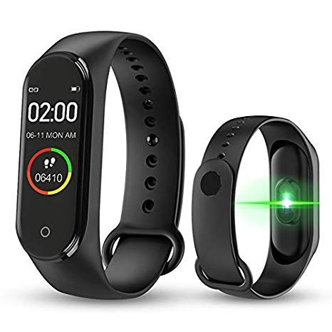 SClout M4 Bluetooth Wireless Smart Fitness Band for Boys/Men/Kids/Women | Sports Watch Compatible with Xiaomi, Oppo, Vivo Mobile Phone | Heart Rate and BP Monitor, Calories Counter (M4 Band)