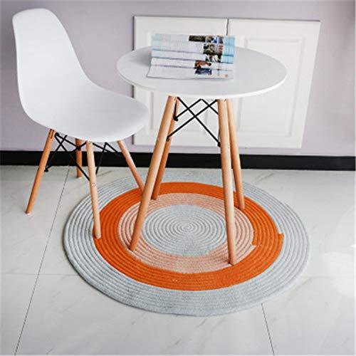 Ronde tapijten en tapijten voor thuis woonkamer tapijt Jute tapijt Kids kamer deurmat voor,2-diameter80cm