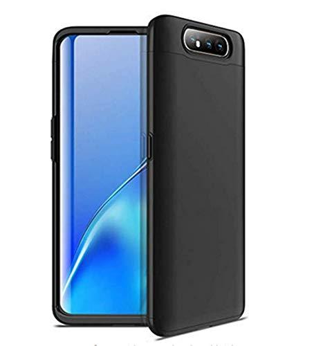 Kompatibel mit Galaxy A80 Hülle Galaxy A80 Schutz 3 in 1 Hart Tasche Handyhülle Ultra Dünn Geschäftsstil Anti-Rutsch Anti-Fingerabdruck Hardcase (Dunkelschwarz, Galaxy A80)