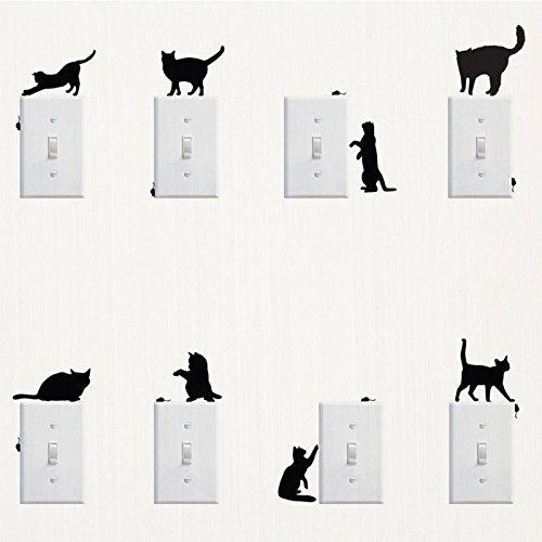 8 gatos Interruptor de luz de alta calidad resistente a los rayos UV, pegatinas para coche, pared, portátil, azulejos, baño, WC, y todas las superficies lisas de lámina de alto rendimiento sin fondo,
