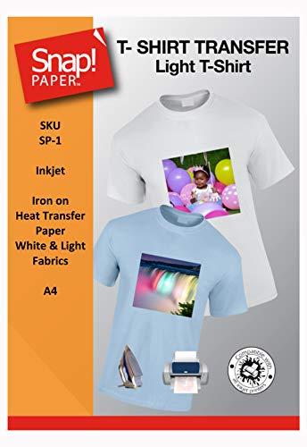 SNAP helles Transferpapier für Tintenstrahldrucker zum Aufbügeln auf T-Shirts, für helle und weiße Stoffe A4 x 8 Blatt SP-1-8