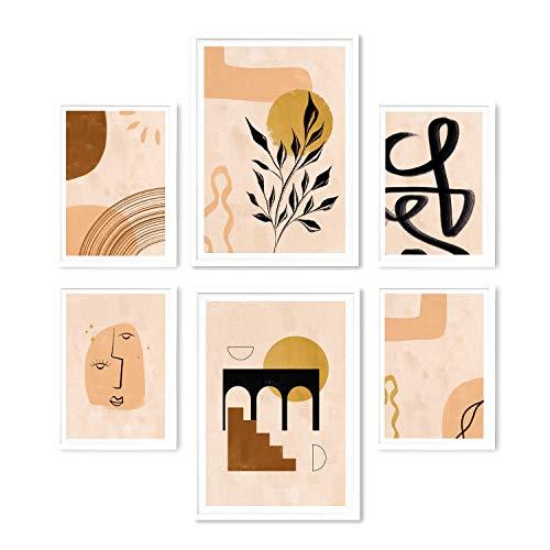 KØZY LIVING® Lot de 6 affiches haut de gamme « Modern Art Pastel »   moderne, style scandinave, beige   décoration pour salon, chambre à coucher   2 x DIN A3 et 4 x DIN A4 (Lot de 6)   sans cadre