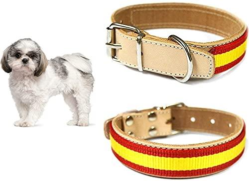 Collar para Perros de Piel Bandera de España 2,5x30cm Natural, Collar de Perros de Piel, Collar Perro Bandera España, Perro Collar Bandera España, Collar Perro España…