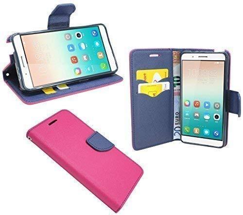 ENERGMiX Buchtasche kompatibel mit Huawei Shot X Hülle Case Tasche Wallet BookStyle mit Standfunktion in Pink-Blau (2-Farbig