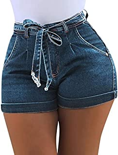 XSWY High Waist Hot Ladies Shorts Women Summer Short Jeans Bandage Plus Size Lady Office Black Booty Workout Denim (Color : Blue, Size : 4XL)