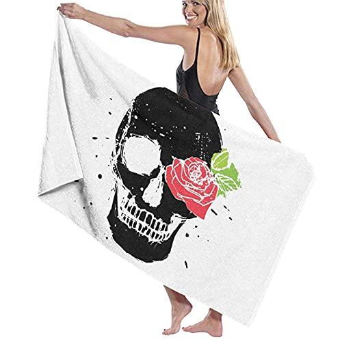 Toallas de Playa,Calavera Rosa roja,Toallas de baño Absorbente Toallas para Uso Diario,80 x 130cm