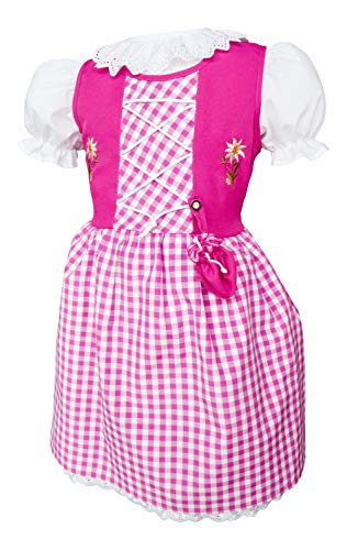 Schrammel kinderdirndl met zakje 3-delig met onderrok en blouse voor kinderen, 127, ook in maat 158-164, voor mollige kinderen