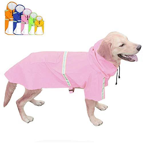 FEimaX Impermeabile per Cani Impermeabili Felpe con Cappuccio Cappotto Riflettente Regolabile Poncho Antivento Cucciolo Giacca da Pioggia per Cani di Taglia Piccola Medio e Grande