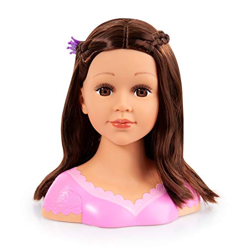 Bayer Design 90088AK, Charlene Super Model, Busto muñeca peinar y maquillar con assessorios, marrón, 27cm, Color Cabello castaño