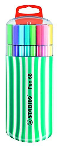 Feutre à dessin - STABILO Pen 68 - Zebrui turquoise x 20 feutres pointe moyenne - Coloris assortis