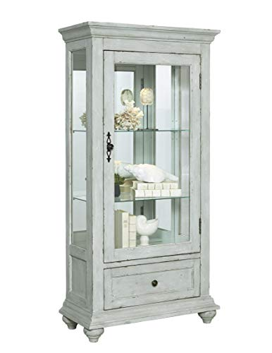 """Pulaski Traditional Antique 2 Shelves Curio Display Cabinet with Led Light, 30"""" x 14"""" x 60.5"""""""