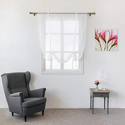 "JAIJY Solid Sheer Voile Tulle Backdrop Farmhouse Curtains Kitchen Rod Pocket Curtain Tie up Adjustable Balloon Window Treatmet Roman Shades Tiebacks for Cafe Gauze Drape, 55""x55"", White Cord"