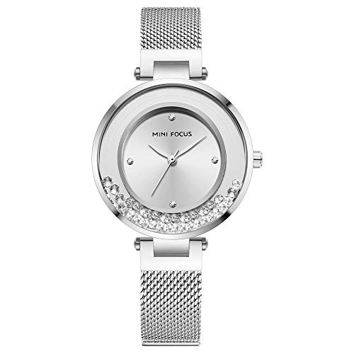 Romacci Relógio de quartzo feminino MF0254L com diamantes decorativos para exterior à prova d'água relógio de pulso feminino