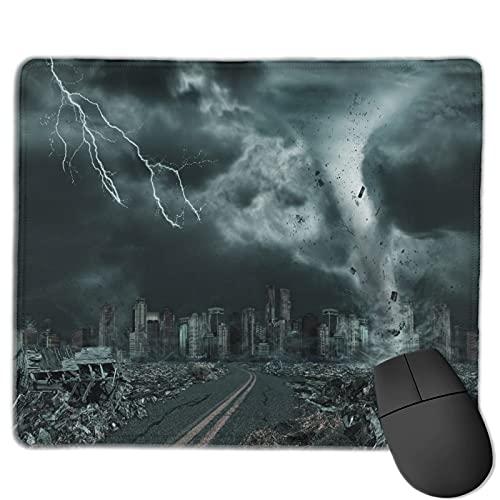 Mauspad,Zerstörung des fiktiven 3D-Tornado-Hurrikans, Anti-Rutsch-Gummibasis Gaming Mouse Pad Mat Desk Decor 9.5