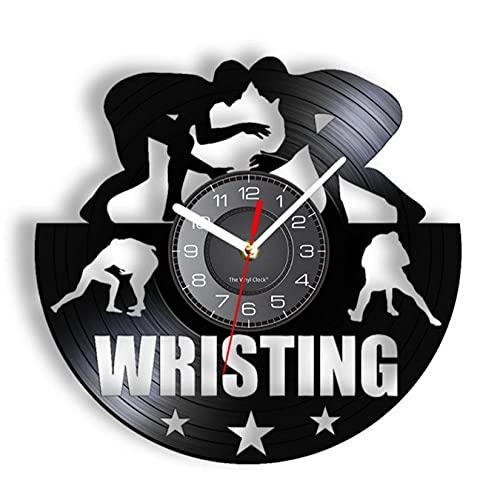 JKLMZYT Reloj de Vinilo de Lucha Libre, Reloj de Registro reutilizado, Reloj Decorativo de Club de Lucha Deportivo de Combate, Reloj de Pared, decoración de Hombre Luchador