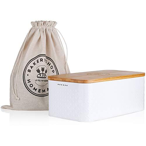 Lars NYSØM Boîte à Pain Crumb I Boîte à Pain avec Sac en Lin pour Une fraîcheur Durable I Couvercle en Bambou pouvant être utilisée comme Planche à découper I 33x19x12 cm