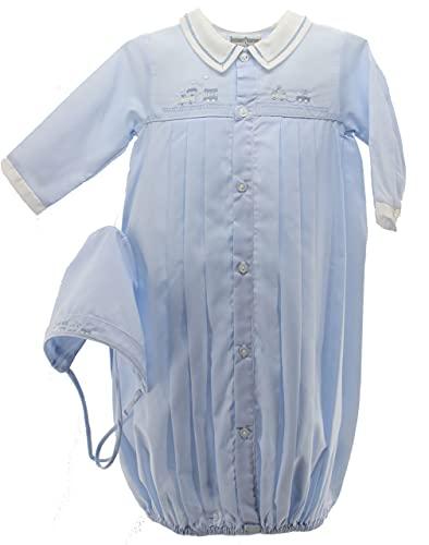 Feltman Boys Blue Train Gown with Bonnet Take Home Layette Set NB