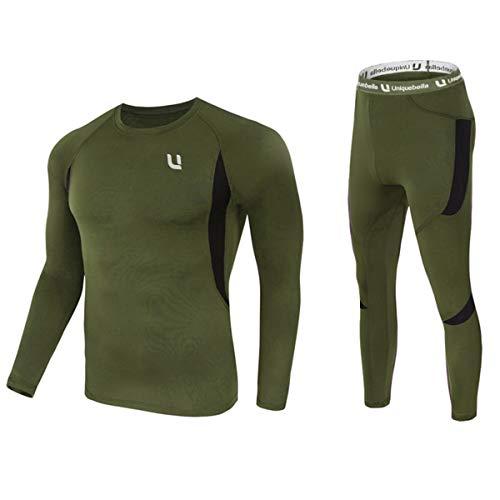 UNIQUEBELLA Thermounterwäsche Set, Funktionswäsche Herren Skiunterwäsche Winter Suit Ski Thermo-Unterwäsche Thermowäsche Unterhemd + Unterhose (Grün, L)