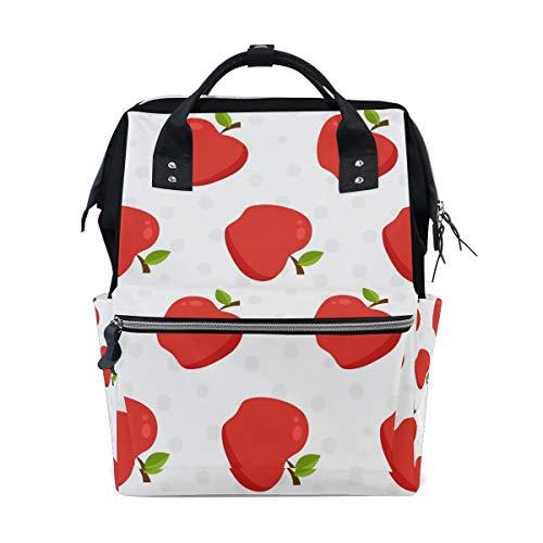 ママリュック りんご 赤い きれい ミイラバッグ デイパック レディース 大容量 多機能 旅行用 看護バッグ 耐久性 防水 収納 調整可能 リュックサック 男女兼用