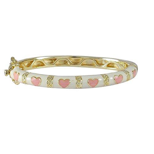 Ivy and Max 42mm Gold Finish White Enamel Pink Hearts Girls Bangle Bracelet