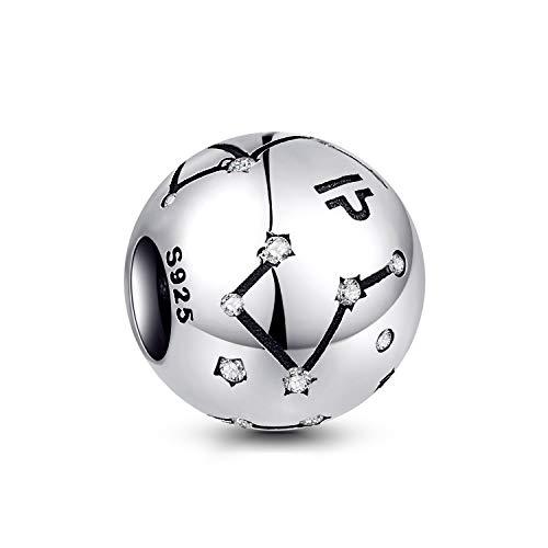 NINGAN die Waage 12 Sternzeichen Geburtstag Anhänger – 925 Sterlingsilber Anhänger für Armband & Halskette – Ideale Geburtsgeschenke für Frauen & Freundinnen