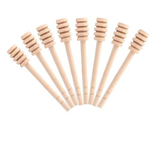 Fyuan Mini Honig Dipper 3,2-Zoll-Holzschläger für Honig-Glas-Topf Dispense Drizzle Honig, Set von 8
