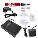 máquina de tatuaje microblading, máquina de tatuaje de cejas Máquina de tatuaje de labios de cejas eléctrica semipermanente Máquina de tatuaje de microblading Set Red (100‑240V)(EU)