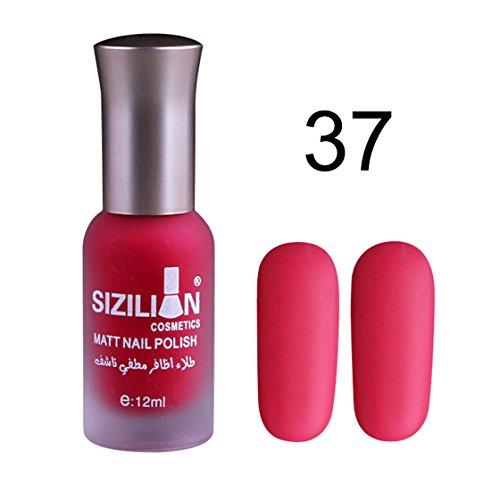 Vovotrade ❃❃❃Scrub matte nail polish 12ml Art Matte Dull Nail Polish Fast Dry Long Lasting SIZILIAN_Hot Pink (Rouge Q)
